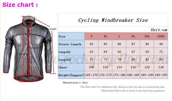 Cycling Windbreaker Size Chart