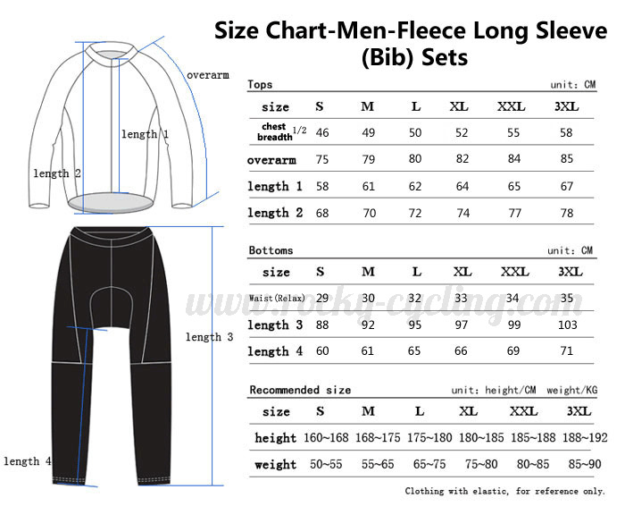Men Cycling Long Sleeve Kit(Bib) Size Chart-1
