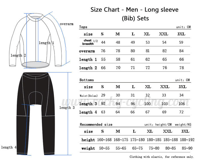 Men Winter Thermal Fleece Cycling Long Sleeve Kit(Bib) Size Chart