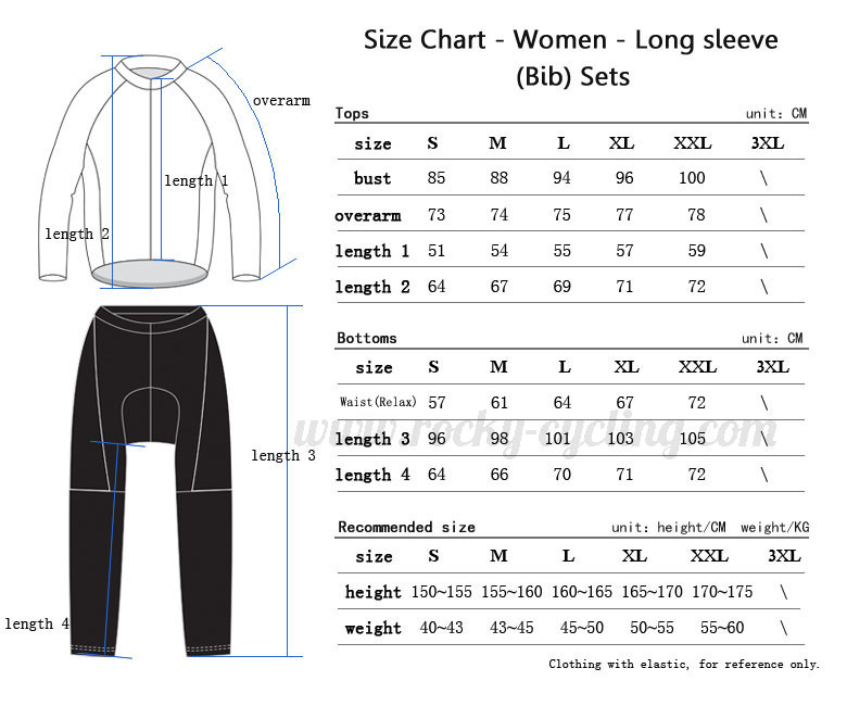 Women Cycling Long Sleeve Kit(Bib) Size Chart
