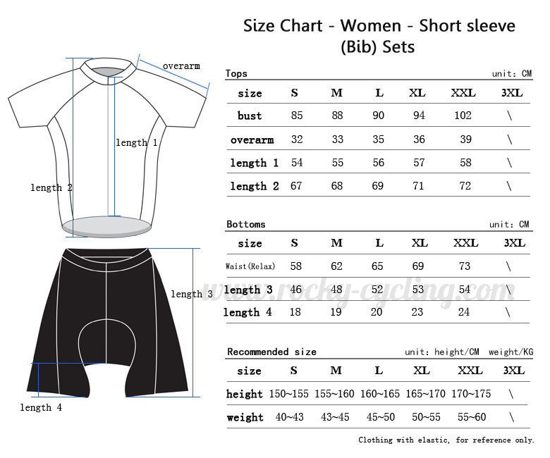 Women Cycling Short Sleeve Kit(Bib) Size Chart-1