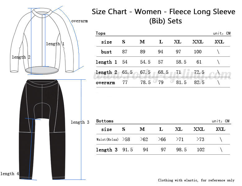 Women Winter Thermal Fleece Cycling Long Sleeve Kit(Bib) Size Chart