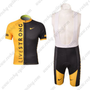 2010 Team LIVESTRONG Cycling Bib Kit Yellow Black