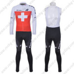 2012 Team ASSOS Cycling Long Bib Kit Red White Cross
