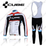 2012 Team CUBE Cycling Long Bib Kit White Black