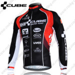2012 Team CUBE Cycling Long Jersey Maillot Black Red