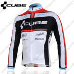 2012 Team CUBE Cycling Long Jersey Maillot White Black