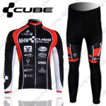 2012 Team CUBE Cycling Long Kit Black Red