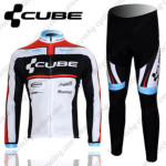 2012 Team CUBE Cycling Long Kit White Black