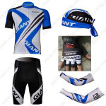 2012 Team GIANT Cycling Set Jersey and Shorts+Bandana+Gloves+Arm Sleeves Blue White