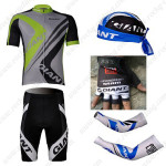 2012 Team GIANT Cycling Set Jersey and Shorts+Bandana+Gloves+Arm Sleeves Green Grey