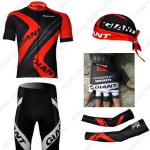2012 Team GIANT Cycling Set Jersey and Shorts+Bandana+Gloves+Arm Sleeves Red Black