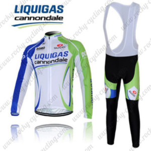 2012 Team LIQUIGAS cannondale Cycling Long Bib Kit Blue White Green