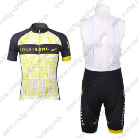 126653111 2012 Team LIVESTRONG Biking Outfit Riding Jersey and Padded Bib ...