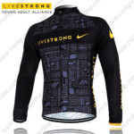 2012 Team LIVESTRONG Cycling Long Jersey Maillot Black