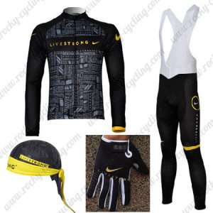 2012 Team LIVESTRONG Cycling Long Suit+Bandana+Gloves
