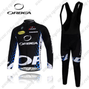2012 Team ORBEA Cycling Long Bib Kit Black Blue
