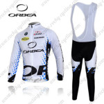 2012 Team ORBEA Cycling Long Bib Kit White Blue