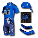 2012 Team SAXO BANK Cycling Set Jersey and Shorts+Bandana+Gloves+Arm Sleeves Blue