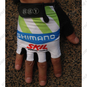 2012 Team SHIMANO SKIL Cycling Gloves Mitts White Green