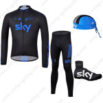 2012 Team SKY Cycling Long Suit+Gears Black Blue