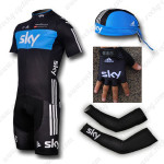 2012 Team SKY Cycling Set Jersey and Shorts+Bandana+Gloves+Arm Sleeves Black Blue2012 Team SKY Cycling Set Jersey and Shorts+Bandana+Gloves+Arm Sleeves Black Blue