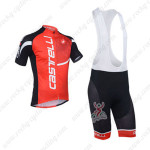 2013 Team Castelli Pro Cycling Bib Kit Red and Black