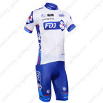 2013 Team FDJ Cycling Kit White Blue