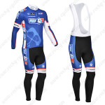 2013 Team FDJ Cycling Long Bib Kit Blue Black