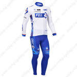 2013 Team FDJ Cycling Long Kit White Blue
