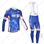 2013 Team FDJ Pro Cycling Long Bib Kit Blue