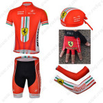 2013 Team FERARI Cycling Set Jersey and Shorts+Bandana+Gloves+Arm Sleeves Red