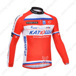 2013 Team KATUSHA Pro Cycling Long Sleeve Jersey Red