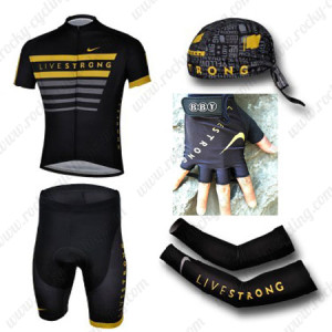 2013 Team LIVESTRONG Cycling Set Jersey and Shorts+Bandana+Gloves+Arm Sleeves Black