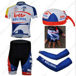 2013 Team LOTTO BELISOL Cycling Set Jersey and Shorts+Bandana+Gloves+Arm Sleeves