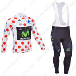 2013 Team Movistar Pro Cycling Long Sleeve Polka Dot Bib Kit