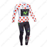 2013 Team Movistar Pro Cycling Long Sleeve Polka Dot Jersey Kit