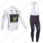 2013 Team Movistar Pro Cycling Long Sleeve White Bib Kit