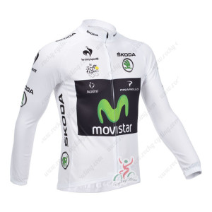 2013 Team Movistar Pro Cycling Long Sleeve White Jersey