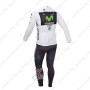 2013 Team Movistar Pro Cycling Long Sleeve White Jersey Kit