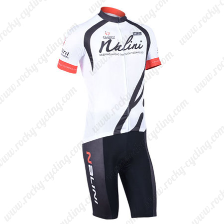 f7c31163b ... Riding Apparel Bicycle Jersey and Padded Shorts White. 2013 Team NALINI  Cycling Kit White