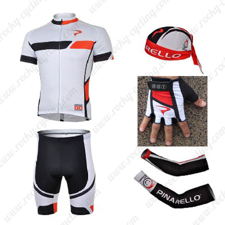 2013 Team PINARELLO Cycling Set Jersey and Shorts+Bandana+Gloves+Arm  Sleeves White2013 a9b4876a0