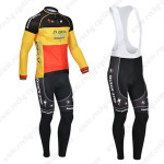2013 Team QUICK STEP Cycling Long Bib Kit Red Yellow