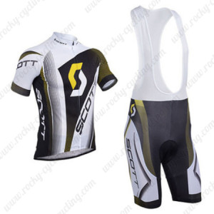 2013 Team SCOTT Cycling Bib Kit White Black Yellow