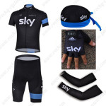 2013 Team SKY Cycling Set Jersey and Shorts+Bandana+Gloves+Arm Sleeves Black