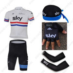 2013 Team SKY Cycling Set Jersey and Shorts+Bandana+Gloves+Arm Sleeves White