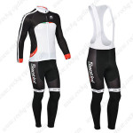 2013 Team Santini Cycling Long Bib Kit Black White