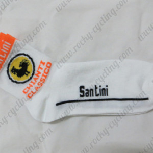 2013 Team Santini Cycling Socks White Orange