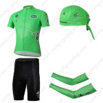 2013 Tour de France Cycling Set Jersey and Shorts+Bandana+Arm Warmers Green