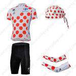 2013 Tour de France Cycling Set Jersey and Shorts+Bandana+Arm Warmers Polka Dot